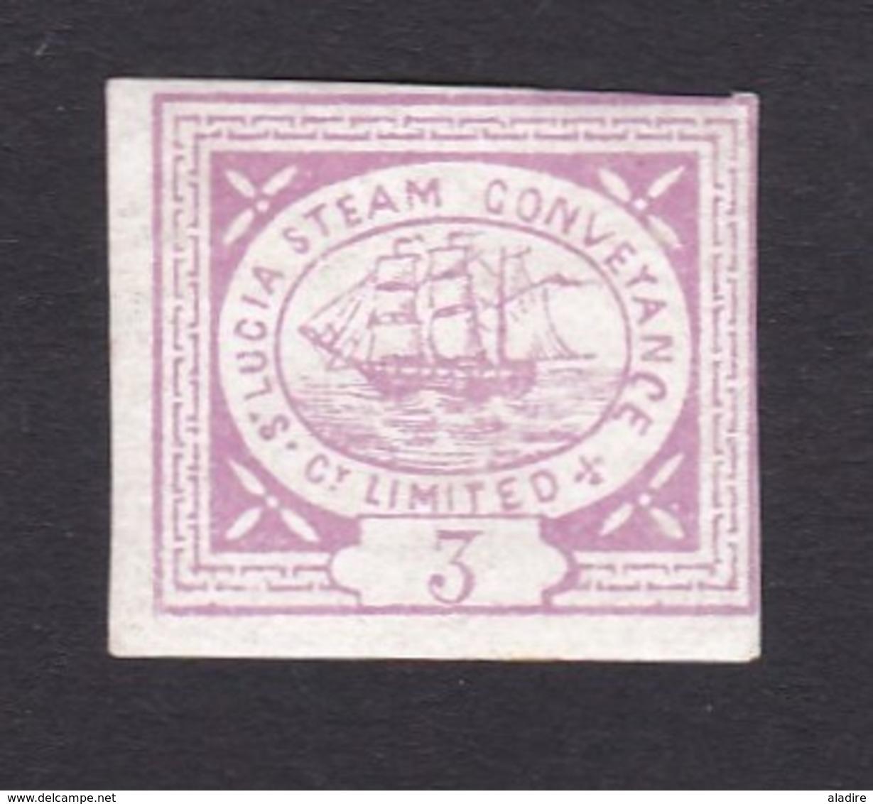 1871 - ST Lucia, Great Britain - Timbre Privé - Compagnie  Steam Conveyance Co Ltd - Transport Par Bateaux à Vapeur - St.Lucia (...-1978)