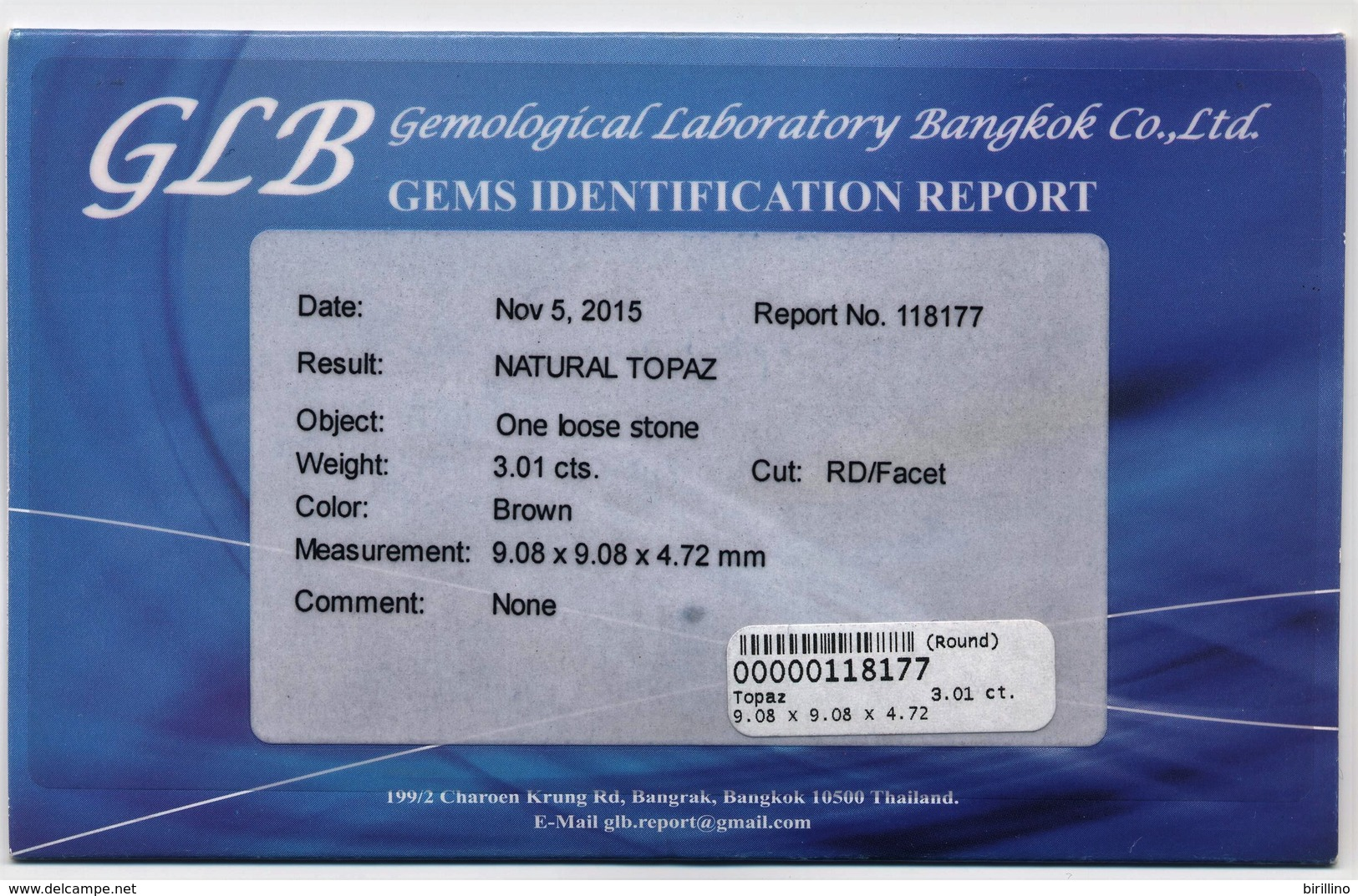 Zircone Naturale Giallo  Ct. 1.73 - Ovale/Facet  - Certificato GLB - Molto Bello - Zircone