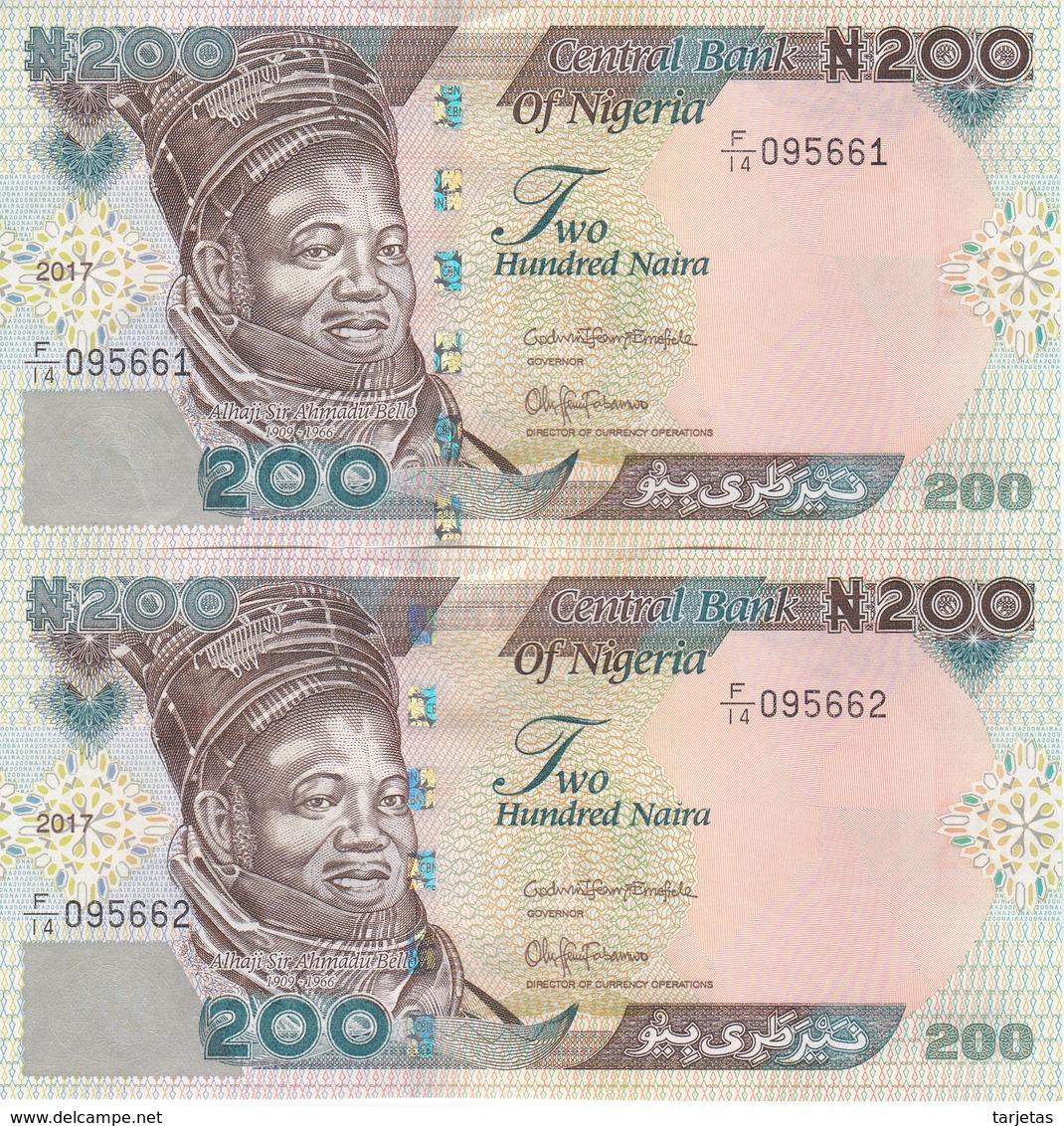PAREJA CORRELATIVA DE NIGERIA DE 200 NAIRA DEL AÑO 2017 SIN CIRCULAR - UNCIRCULATED (BANKNOTE-BANK NOTE) VACA-COW - Nigeria