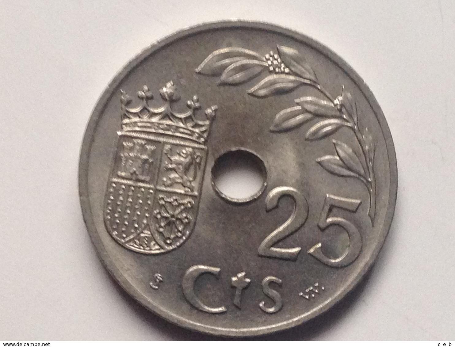 Moneda 25 Céntimos. 1937. Falange. Guerra Civil. II Año Triunfal. España. General Franco. Original. Hecha En Viena - Zona Nazionalista