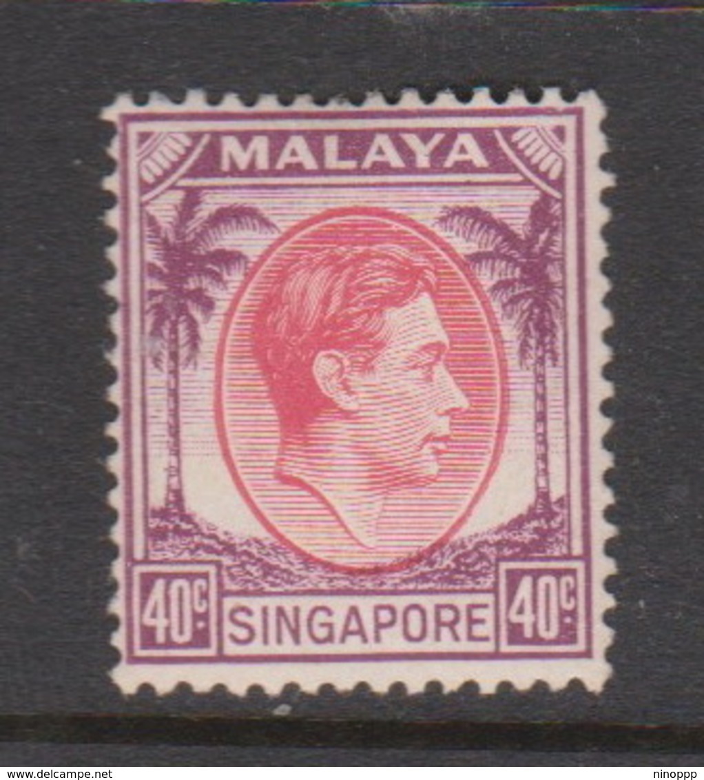 Singapore 11 1948 King George VI Definitives 40c Red And Purple,mint Hinged - Singapore (1959-...)