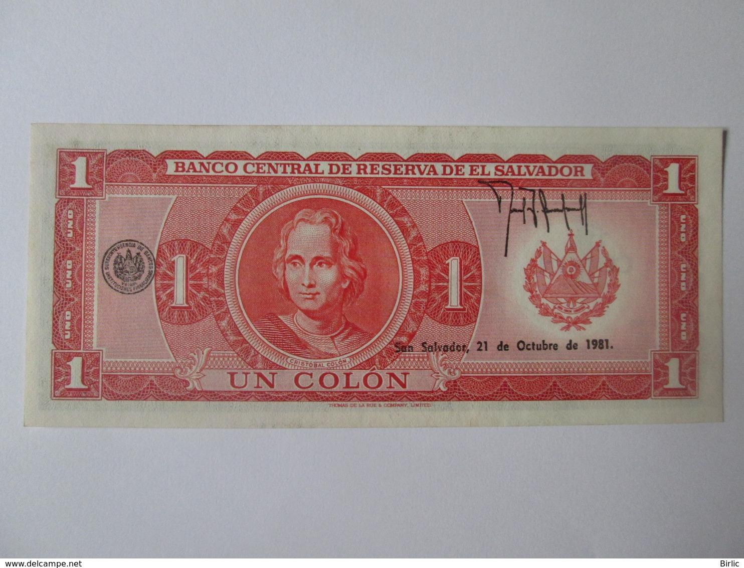 Rare! El Salvador 1 Colon 1981 UNC Banknote - El Salvador