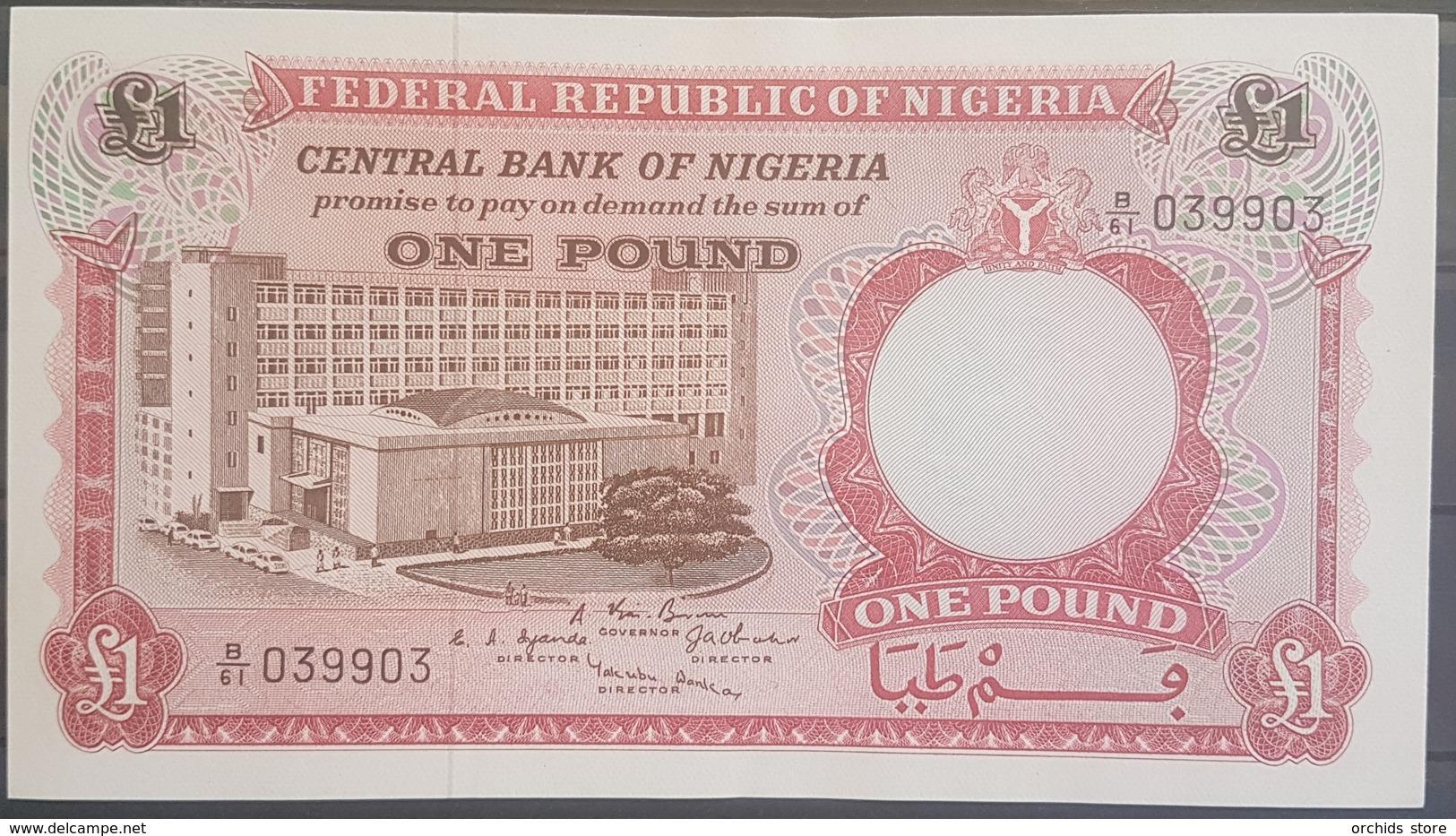 Nigeria UNC 1967 P.8 1 Pound Banknote #039903 Serial Number - Nigeria