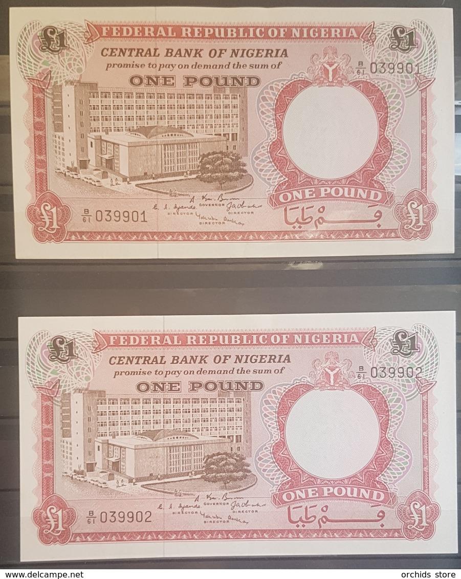 Nigeria UNC 1967 P.8 1 Pound Banknote 2 Consecutive Serial Numbers #039901 & #039902 - Nigeria
