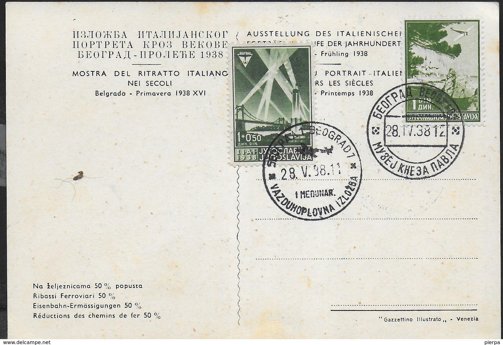 STORIA POSTALE JUGOSLAVIA - BELGRADO 28.05.1938 - MOSTRA DEL RITRATTO ITALIANO SU CARTOLINA - 1931-1941 Kingdom Of Yugoslavia