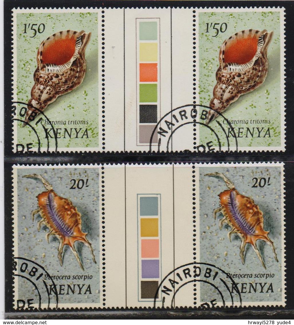 Kenya 1971, Seashells In Gutterpairs With Colourpalet, Vfu. Cv 18 Euro - Kenia (1963-...)