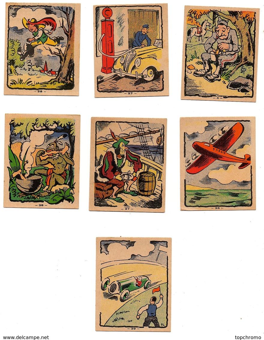 CHROMO Image Banania P.L Moyens De Transport Cheval Voiture Automobile Avion Bateau Bottes De Sept Lieues (7 Images) - Cromo