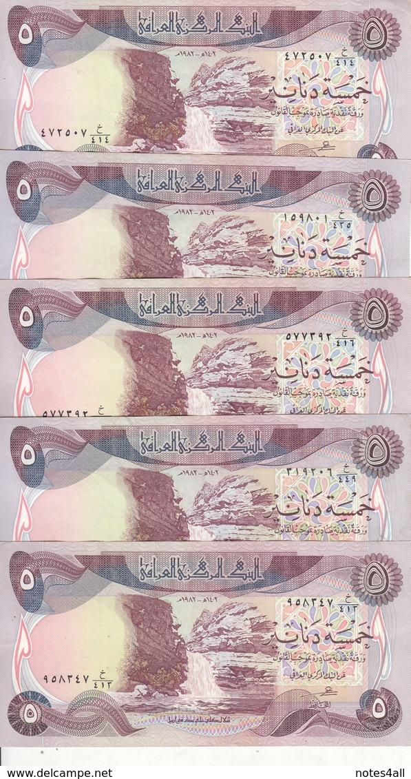 IRAQ 5 DINARS 1981 1982 P-70 LOT X5 EF/XF NOTES */* - Iraq