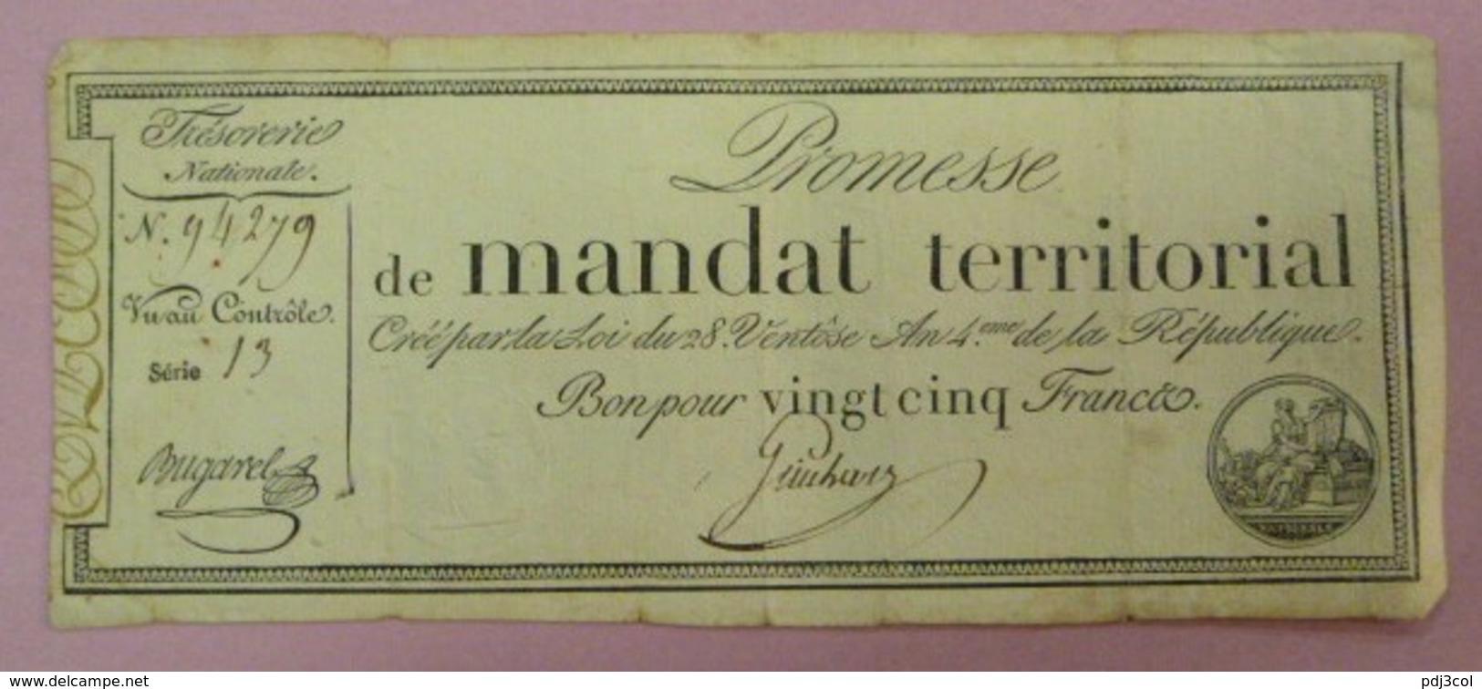 Promesse De Mandat Territorial - Bon Pour 25 Francs, Impression Noire, Série 13 Lafaurie N°200 - Assignate
