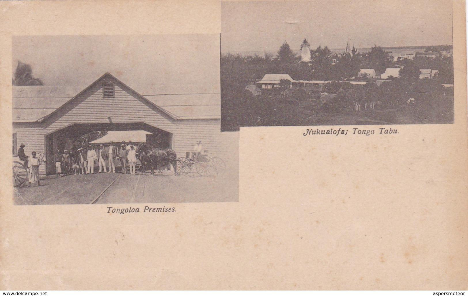 TONGA MULTIVUE: TONGOLAO PREMISES, NUKUALOFA, TONGA TABOO CIRCA 1900s RARISIME- BLEUP - Tonga