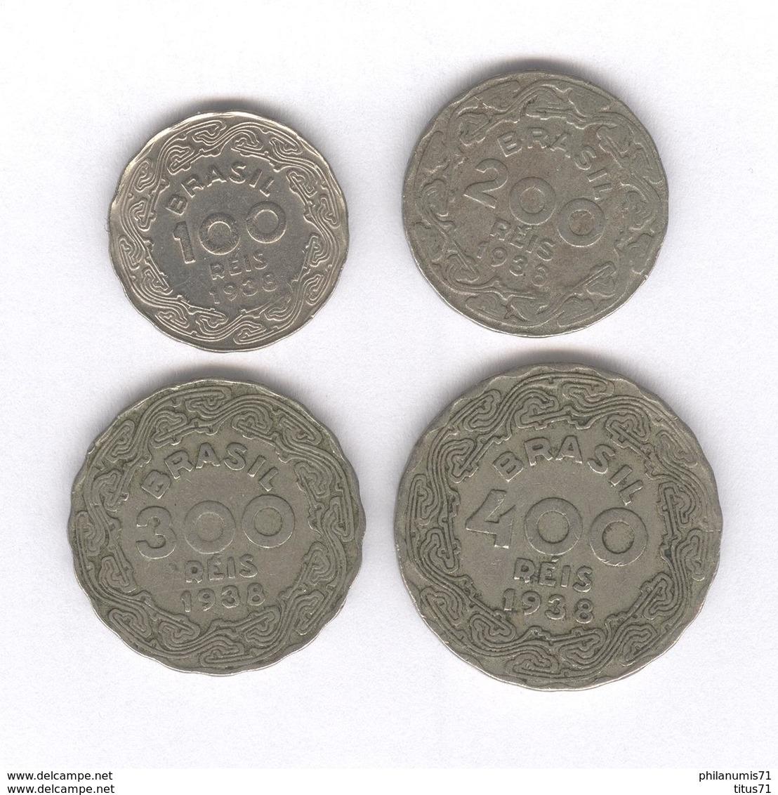 Lot 4 Monnaies 100 , 200 , 300 , 400 Réis Brésil / Brazil 1938 Vargas - TTB - Brésil