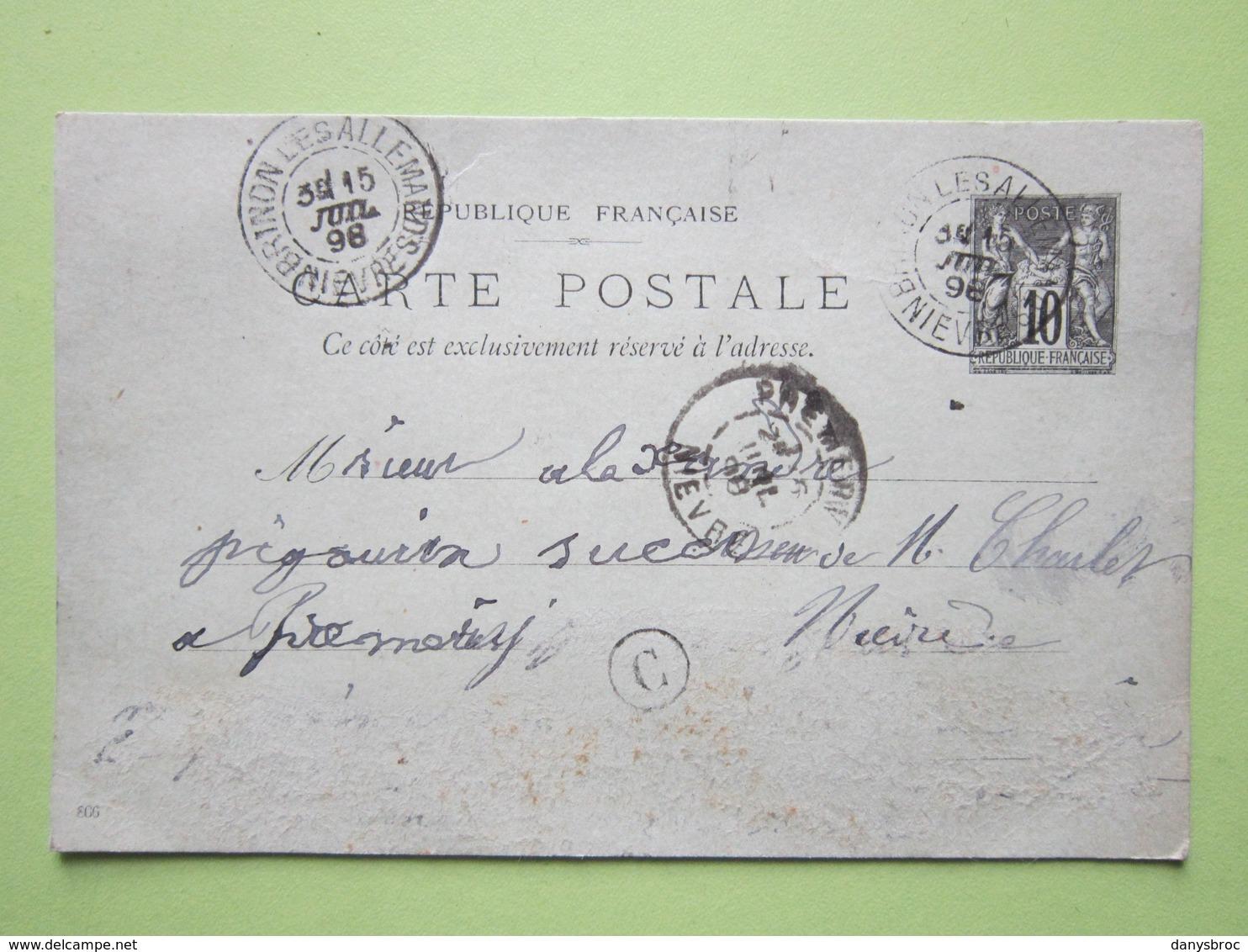Carte Postale écrite à BUSSY-LA-PESLE, Oblitérée BRINON-LES-ALLEMANDS & PREMERY (58) 15/07/1898 Entier Sage Noir 10c - Marcofilie (Brieven)