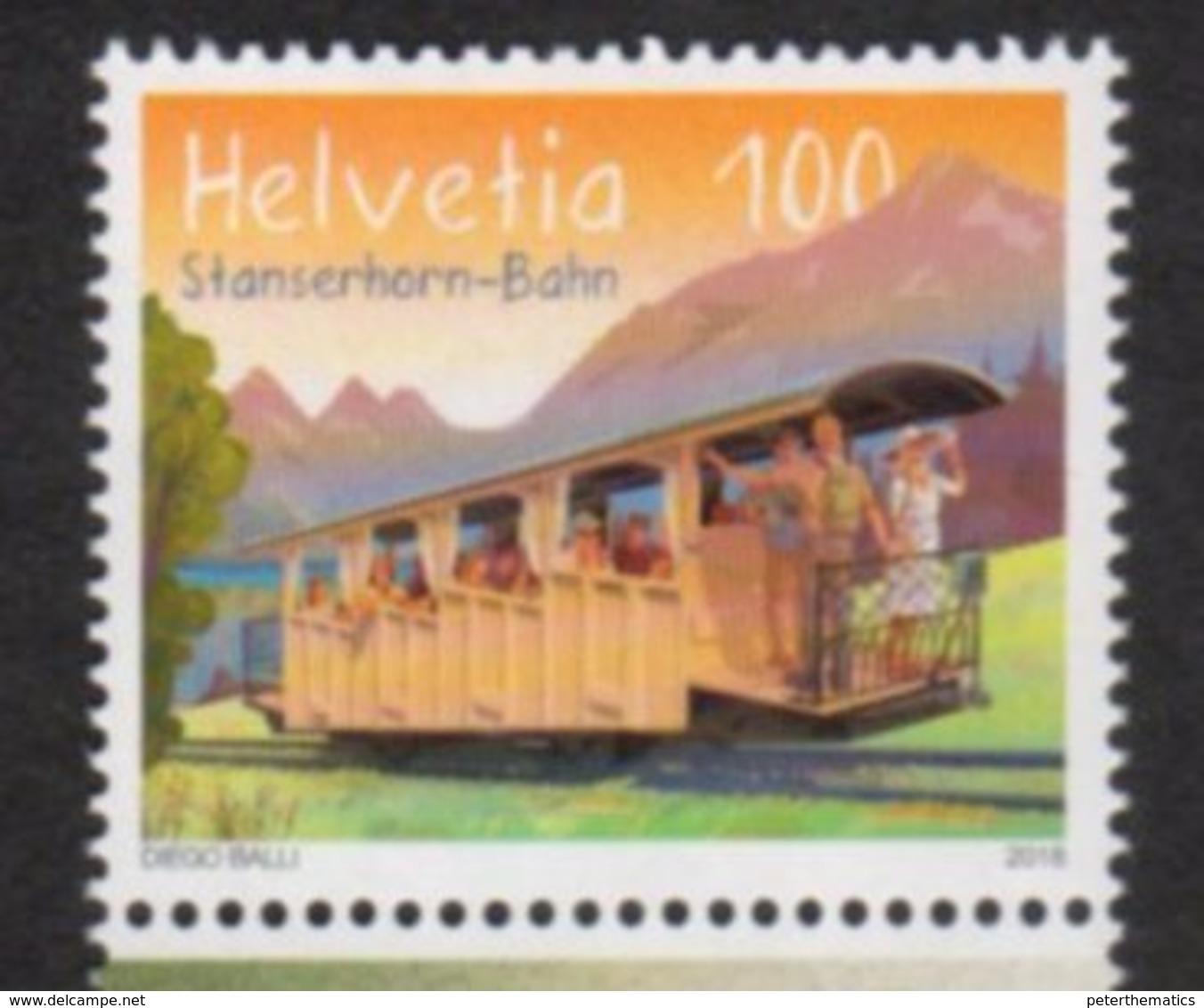 SWITZERLAND , 2018, MNH, TRAINS, STANSERHORN  BAHN, MOUNTAINS, 1v - Trains