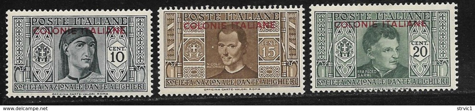 Italian Colonies Scott # 1-3 Mint Hinged Italy Dante Issue Overprinted, 1932 - General Issues
