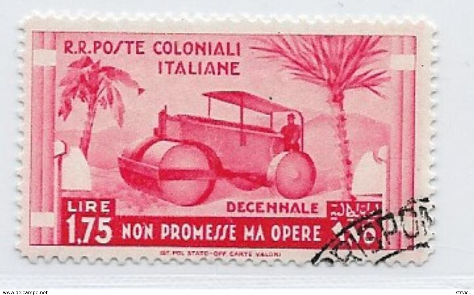 Italian Colonies Scott # 35 Used Steam Roller, 1933 - Italy