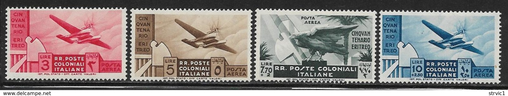 Italian Colonies Scott # C15-8 Mint Hinged Plane,Map, 1933, CV$114.00 - General Issues