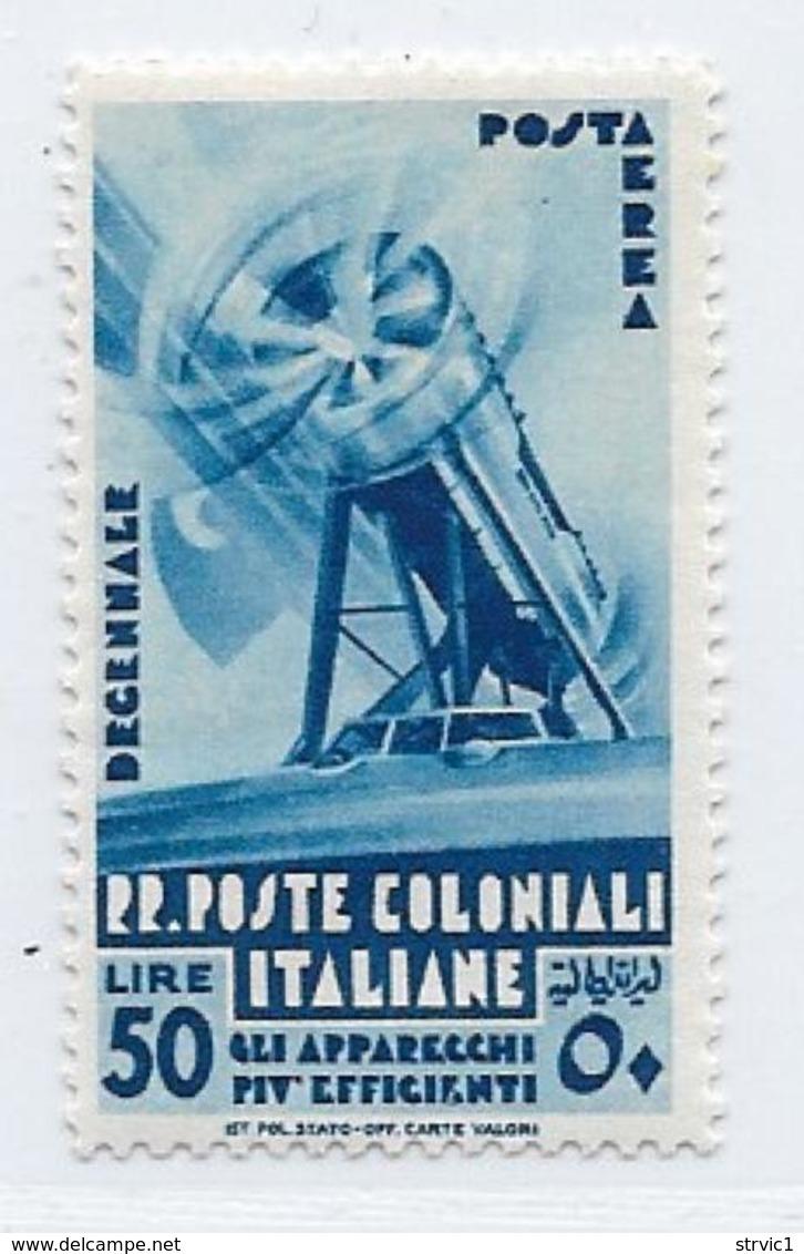 Italian Colonies Scott # C27 Mint Hinged Plane Efficient Machinery, 1934 - Italy