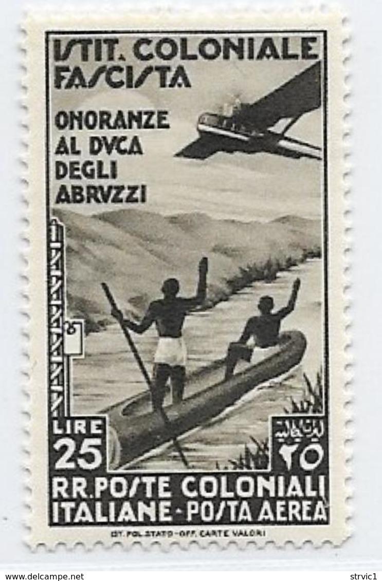 Italian Colonies Scott # C28 Mint Hinged Plane, Natives In Canoe, 1934 - Italy