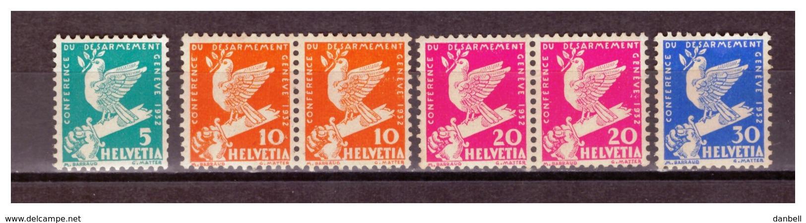 CH20) SVIZZERA 1932 -Conferenza Intern.le Sul Disarmo- Seritta 4 Valori N.254 -257  MNH** - Svizzera
