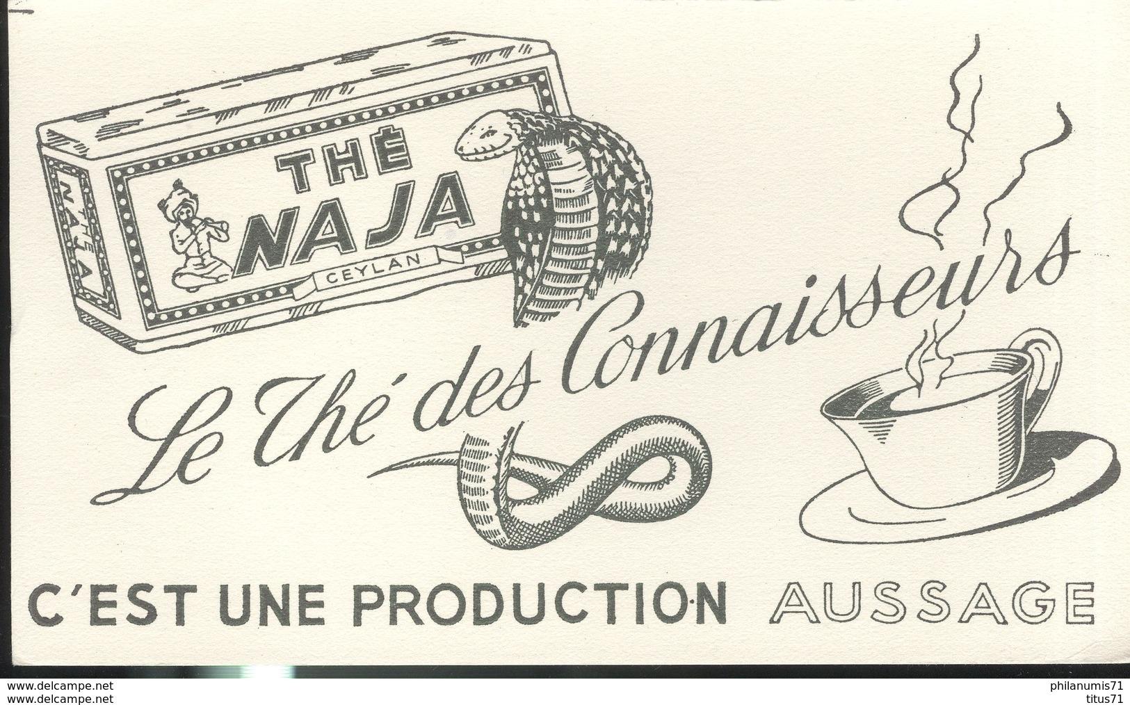 Buvard  Thé Naja - Le Thé Des Connaisseurs - Production Aussage - Très Bon état - Koffie En Thee