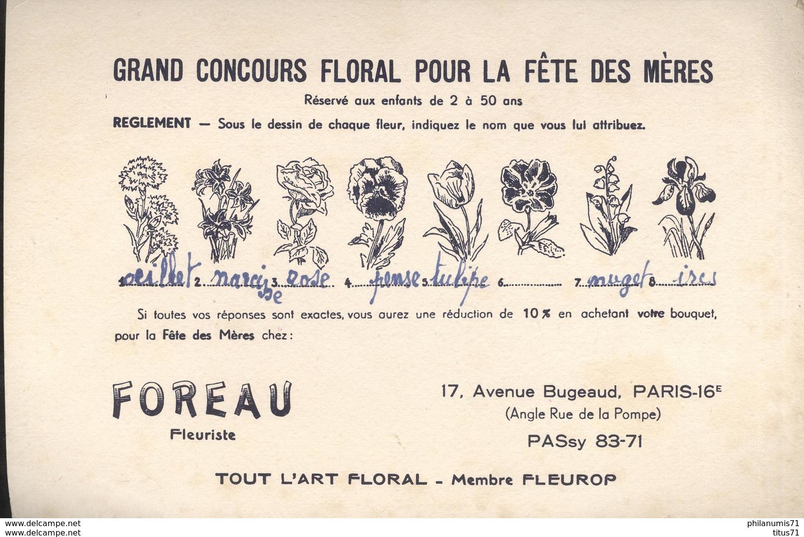 Buvard  Foreau Fleuriste - 17 Avenue Bugeaud Paris 16ème - Très Bon état - Blotters