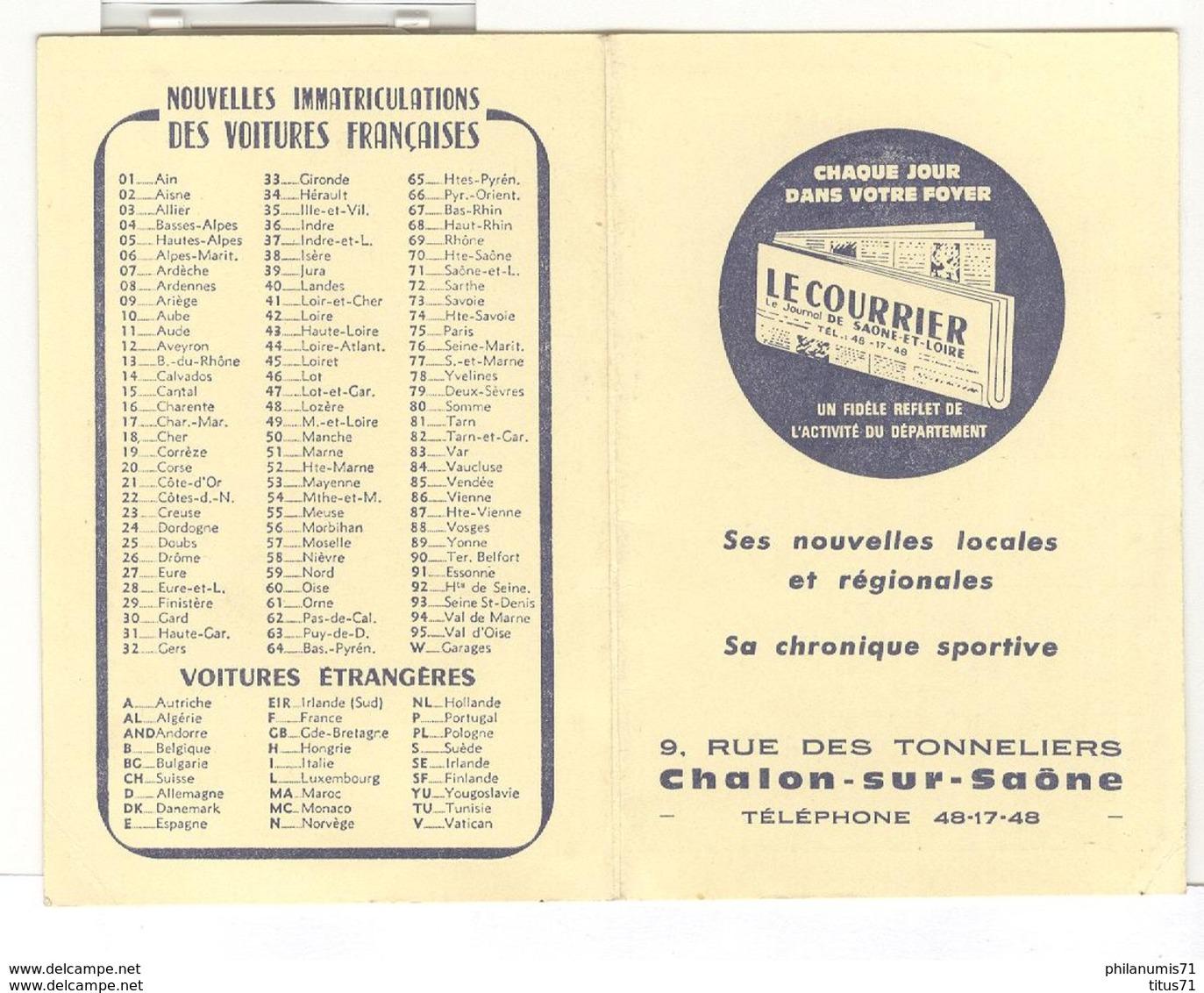 Calendrier Courrier De Saône Et Loire 1967 - 6,5 X 10 Cm Fermé - Calendriers