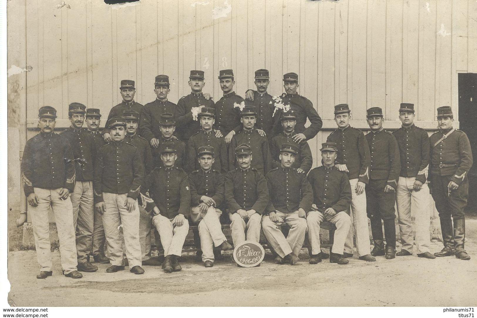 CPA Carte Photo Artilleurs Français - 1ère Pièce 1906-1907 - Régiment à Identifier - Non Circulée - Uniformen