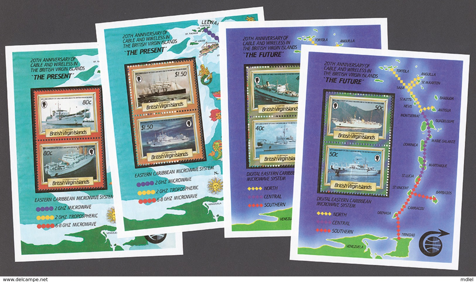 British Virgin Islands 1986 Mi# Bl.30-33** CABLE-LAYING SHIPS, CABLE AND WIRELESS IN THE ISLANDS, 20th ANNIV. - Iles Vièrges Britanniques