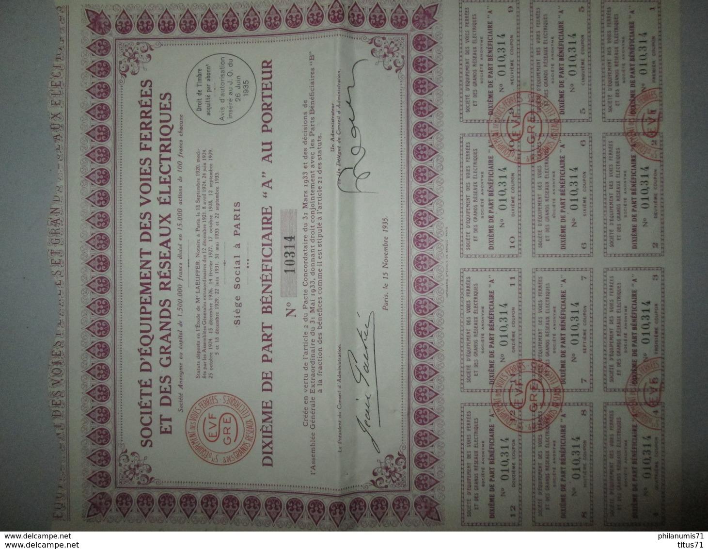 Dixième De Part Bénéficiaire Au Porteur Société D'Equipement Des Voies Ferrés Et Des Grands Réseaux Electriques - 1935 - Chemin De Fer & Tramway