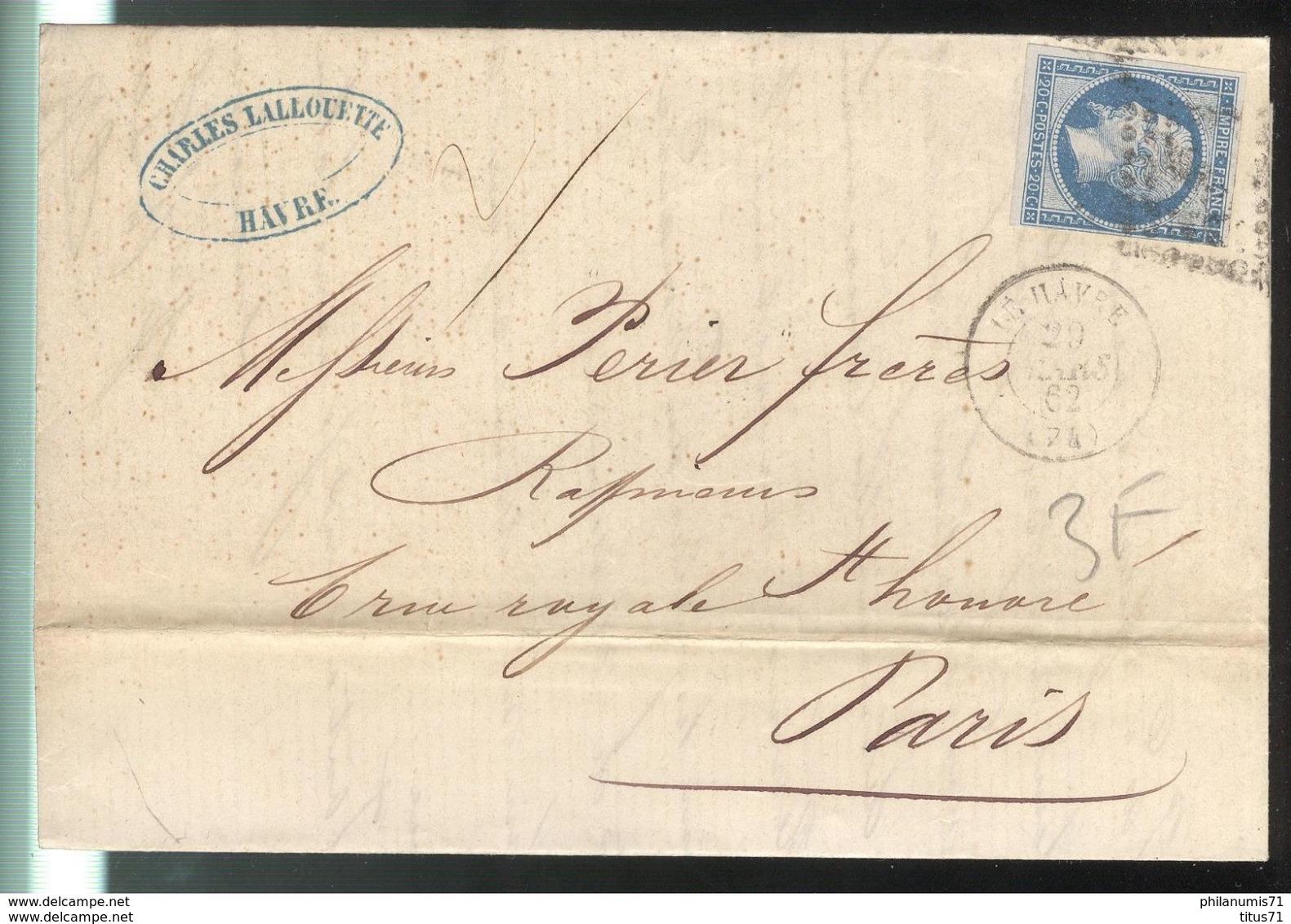 Marcophilie - Lettre Du Havre à Paris 1862 - Marcofilie (Brieven)