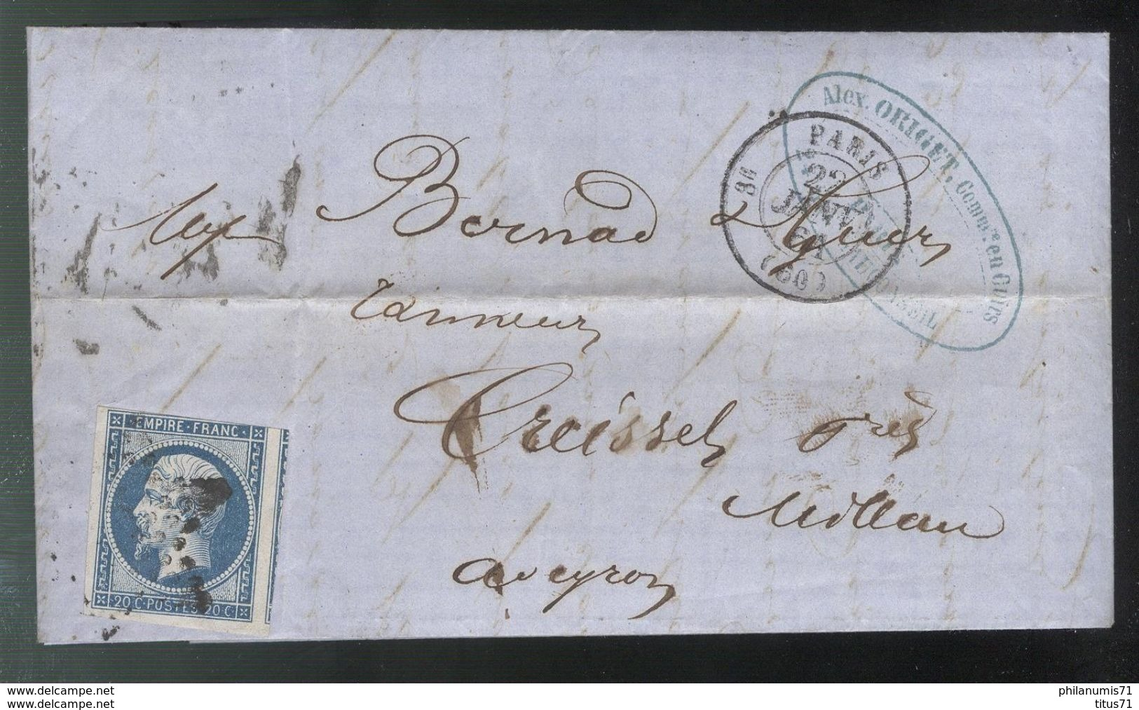 Marcophilie - Lettre De Paris à Millau 1861 - Marcophilie (Lettres)