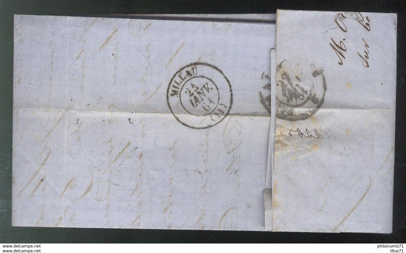 Marcophilie - Lettre De Paris à Millau 1861 - 1849-1876: Période Classique