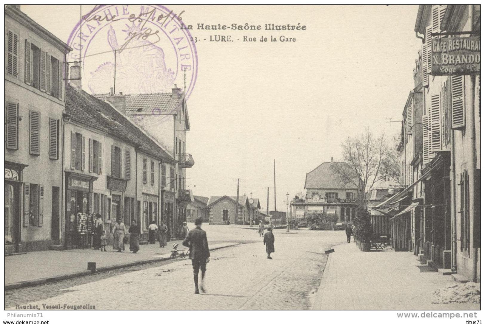 CPA Lure - La Rue De La Gare - Télégraphe Militaire - Circulée 1916 - Lure