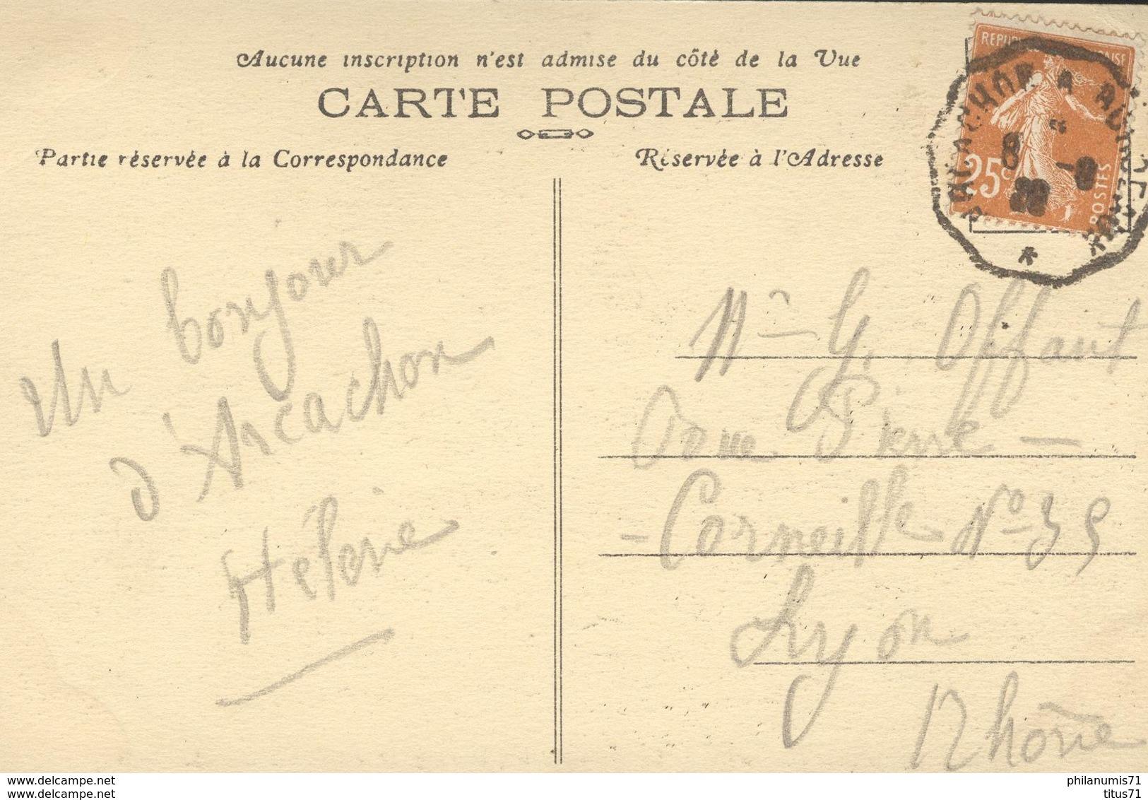 CPA  Arcachon - La Grande Jetée , La Plage Et Le Grand Hotel - Circulée - Arcachon