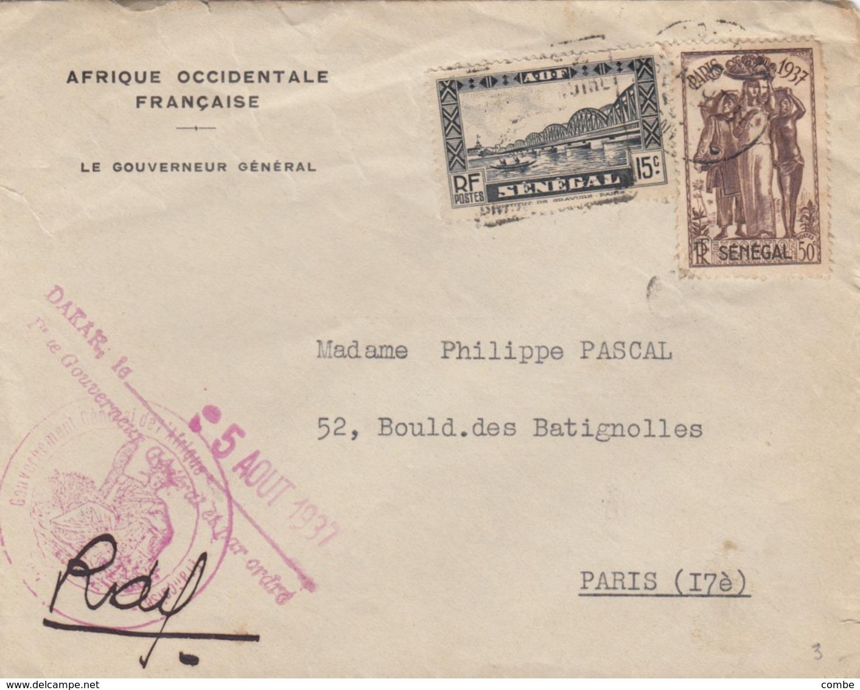 LETTRE. SENEGAL.  5 AOUT 1937.  LE GOUVERNEUR GENERAL POUR PARIS  / 4 - Senegal (1887-1944)