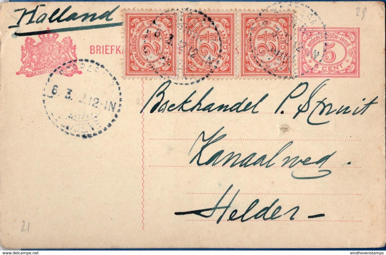 Nederlands Indie 1922 5 Ct Stationery Card With 3x 2½ Cts From Soerabaja, 6.3.22 To (Den) Helder, Netherlands - Indes Néerlandaises