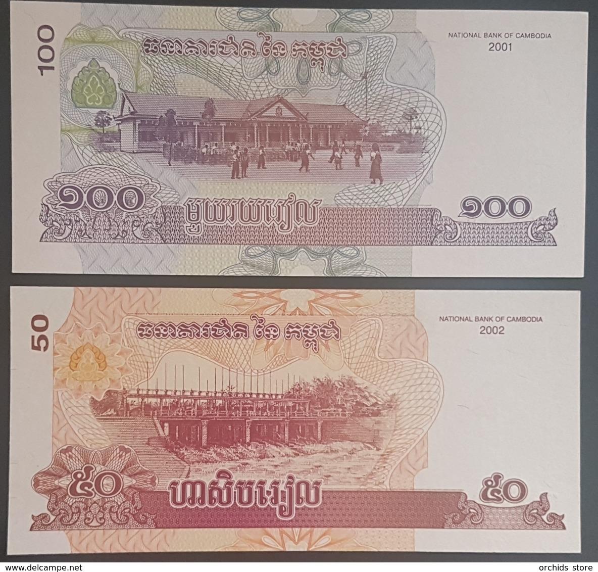 E11g2 Banknotes - Cambodia 2001 100 Riels UNC & 2002 50 Riels UNC - Cambodia