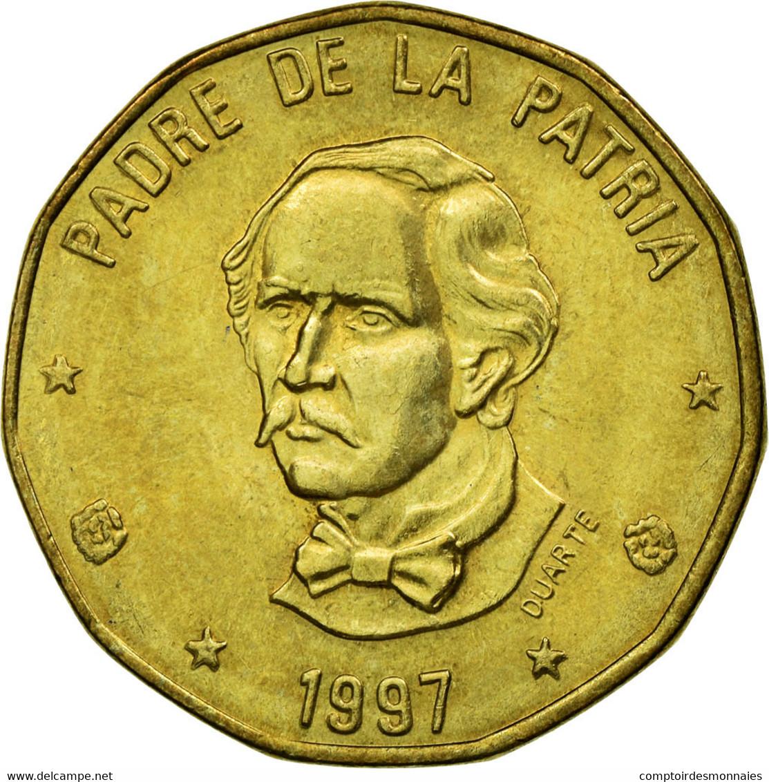 Monnaie, Dominican Republic, Peso, 1997, TTB, Laiton, KM:80.3 - Dominicaine