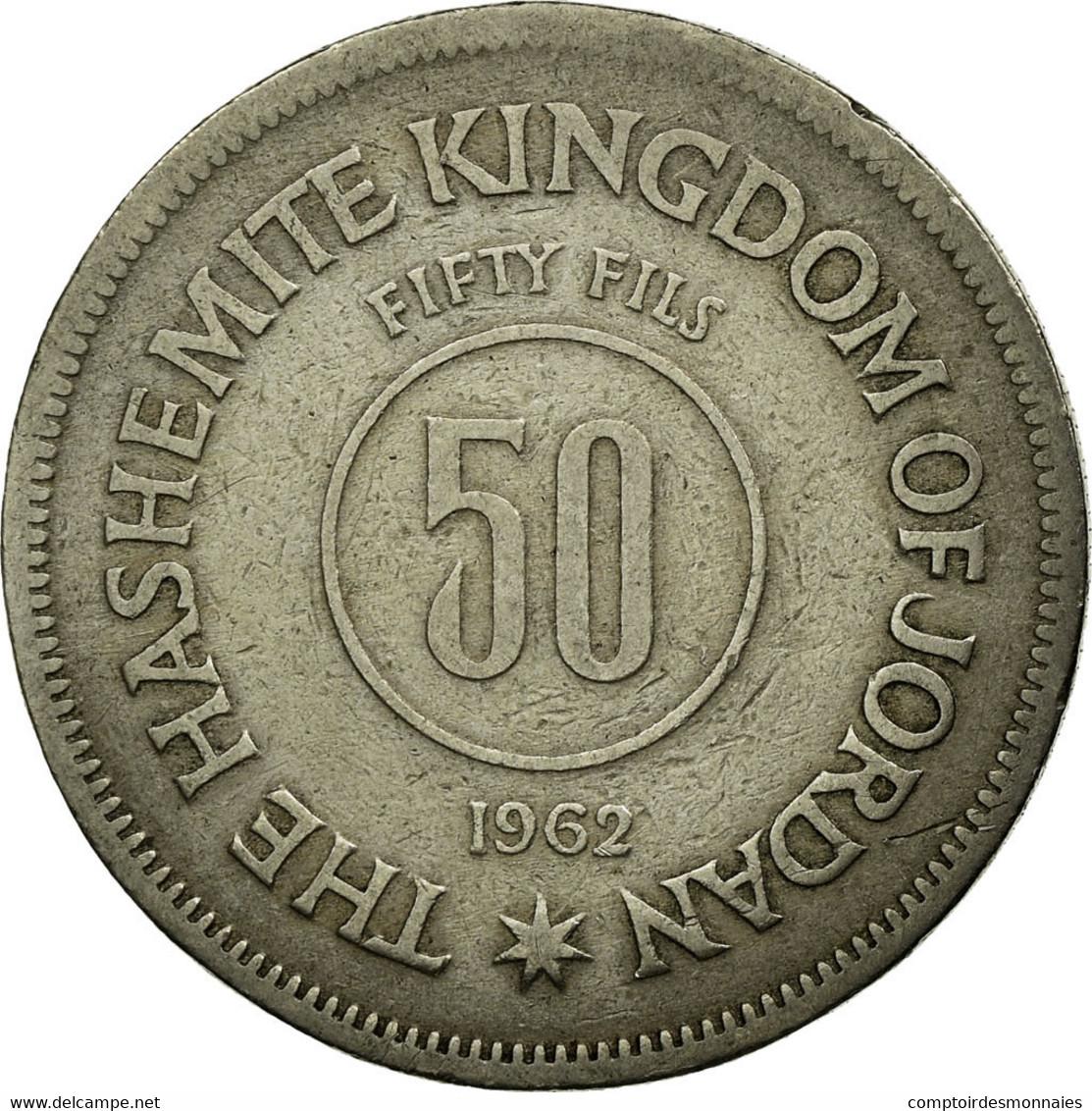 Monnaie, Jordan, Hussein, 50 Fils, 1/2 Dirham, 1962, B+, Copper-nickel, KM:11 - Jordanie