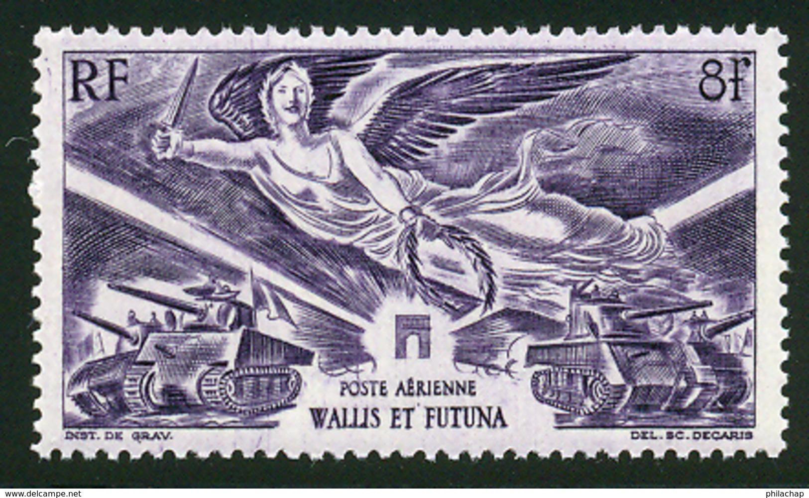Wallis Et Futuna PA 1946 Yvert 4 ** TB Victoire Coin De Feuille - Poste Aérienne