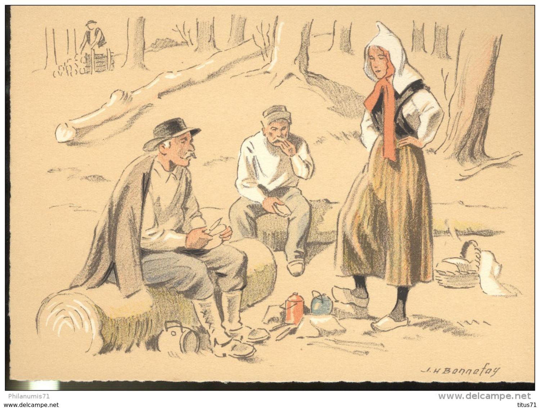 CPSM Edition Barré Et Dayez - Illustrateur Bonnefoy - Croquis Régionaux : Repas Des Bûcherons - 1300U - Illustrators & Photographers