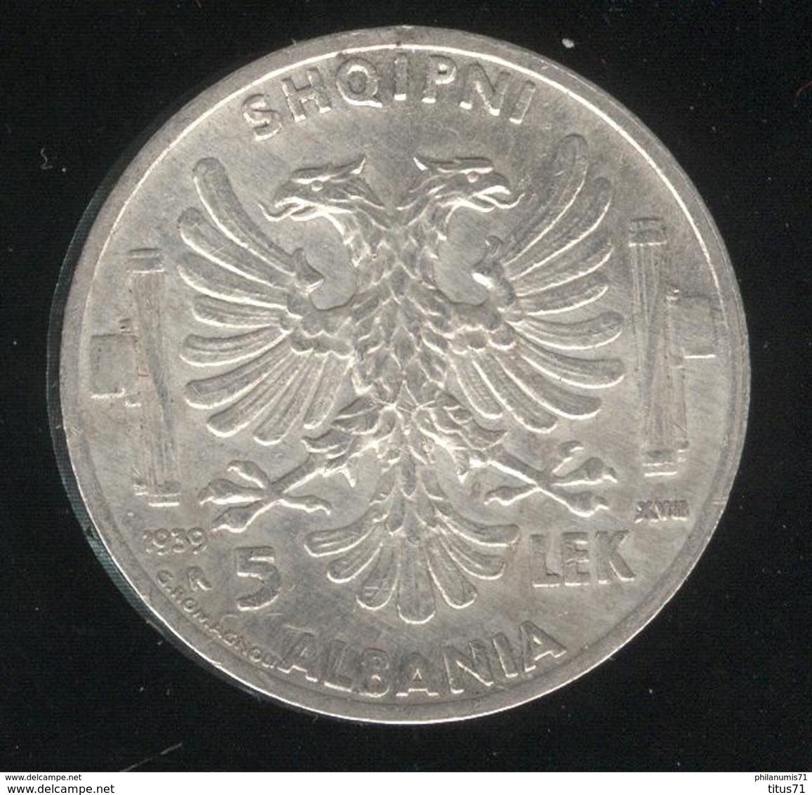 5 Lek Albanie 1939 - SUP - Albanie