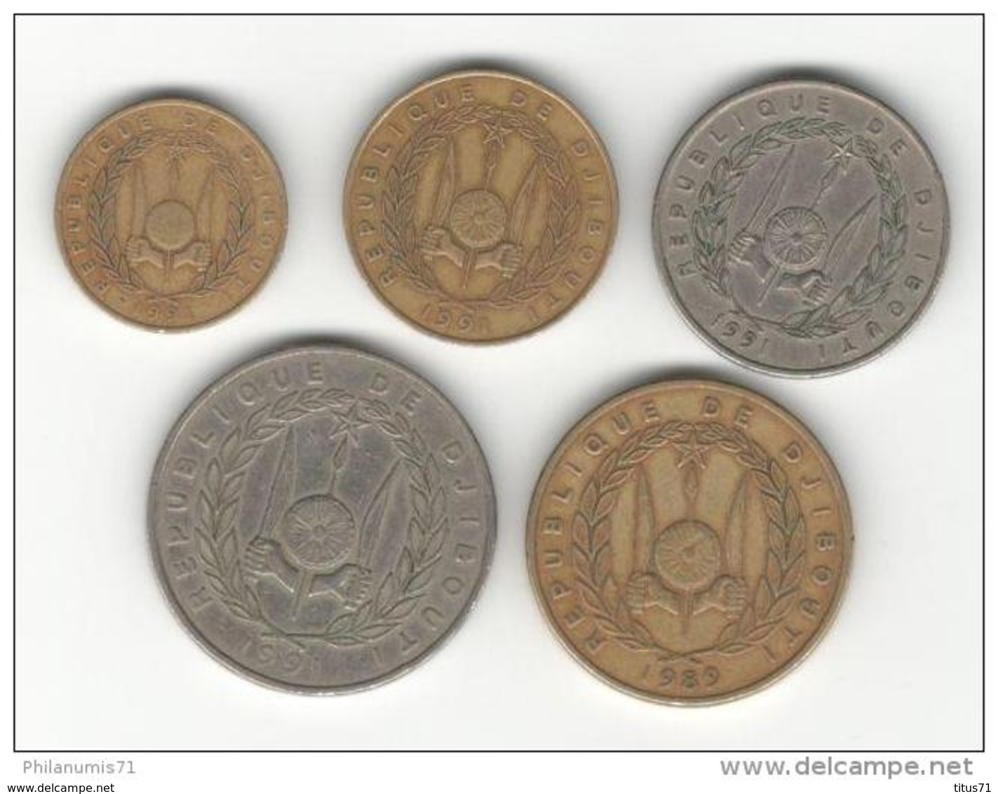 Lot De 5 Monnaies République De Djibouti De 10 Francs à 500 Francs - Années 1989 Et 1991 - Djibouti