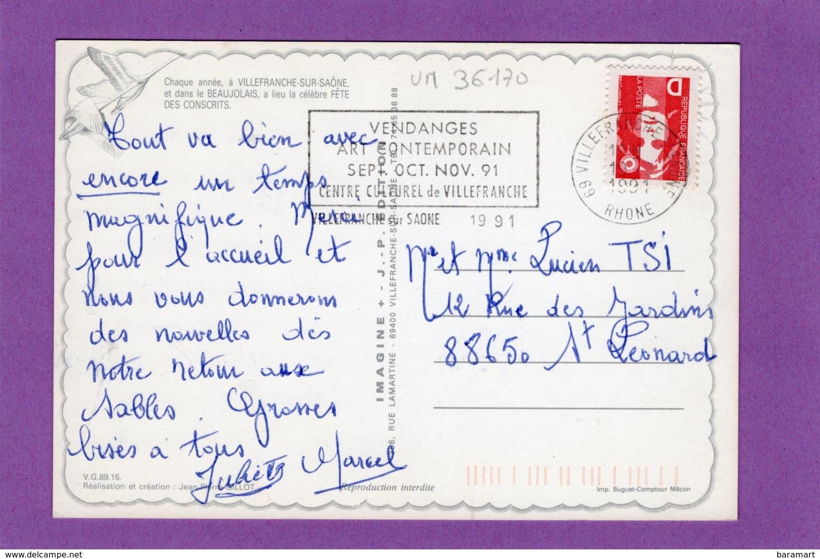 69 VILLEFRANCHE SUR SAONE La Fête Des Conscrits De Villefranche Et Du Beaujolais Flamme Au Dos - Villefranche-sur-Saone
