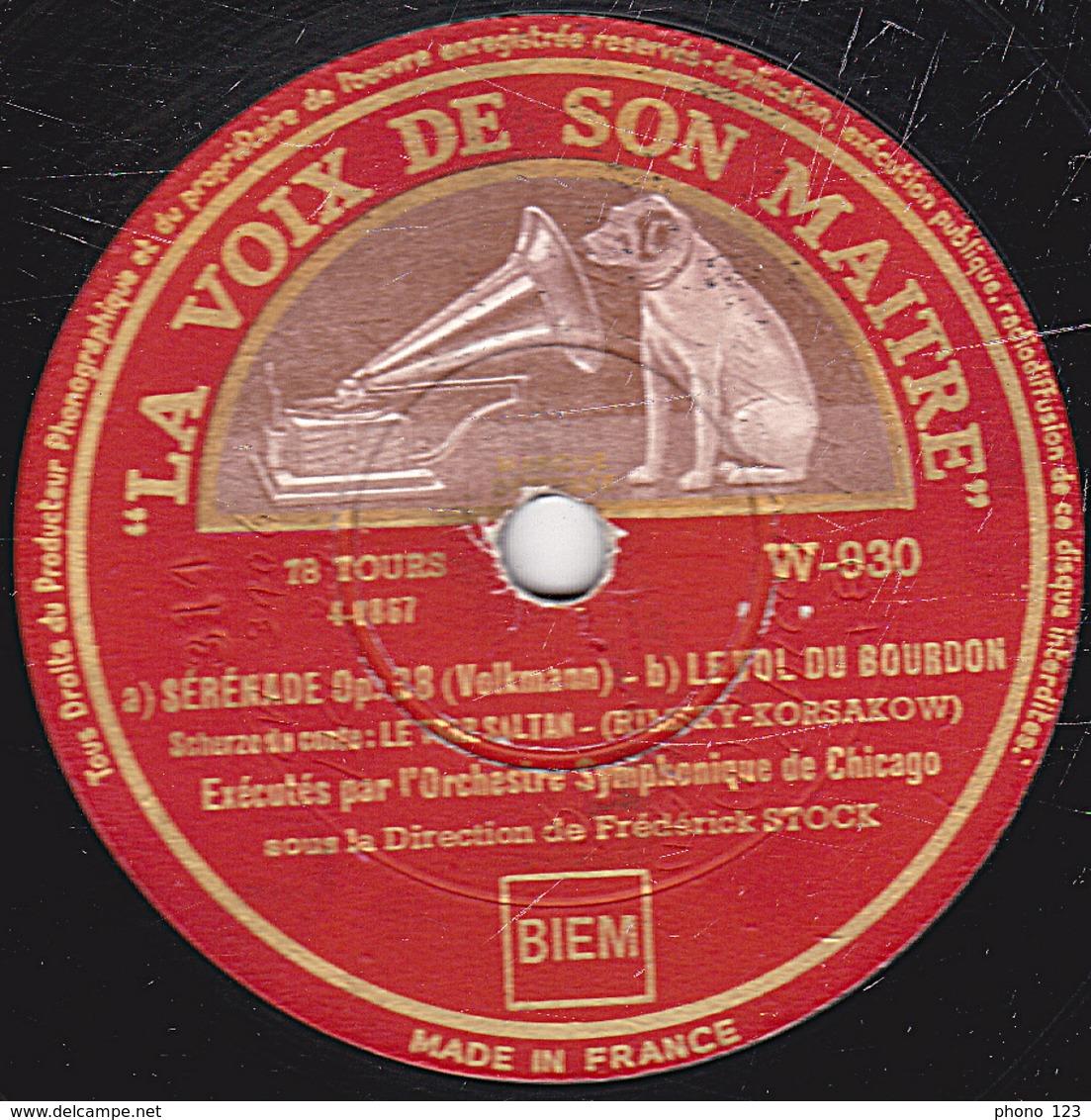78 Trs - 30 Cm - Etat B - VALSE TRISTE - SERENADE - Orchestre Symphonique De Chicago - 78 Rpm - Schellackplatten
