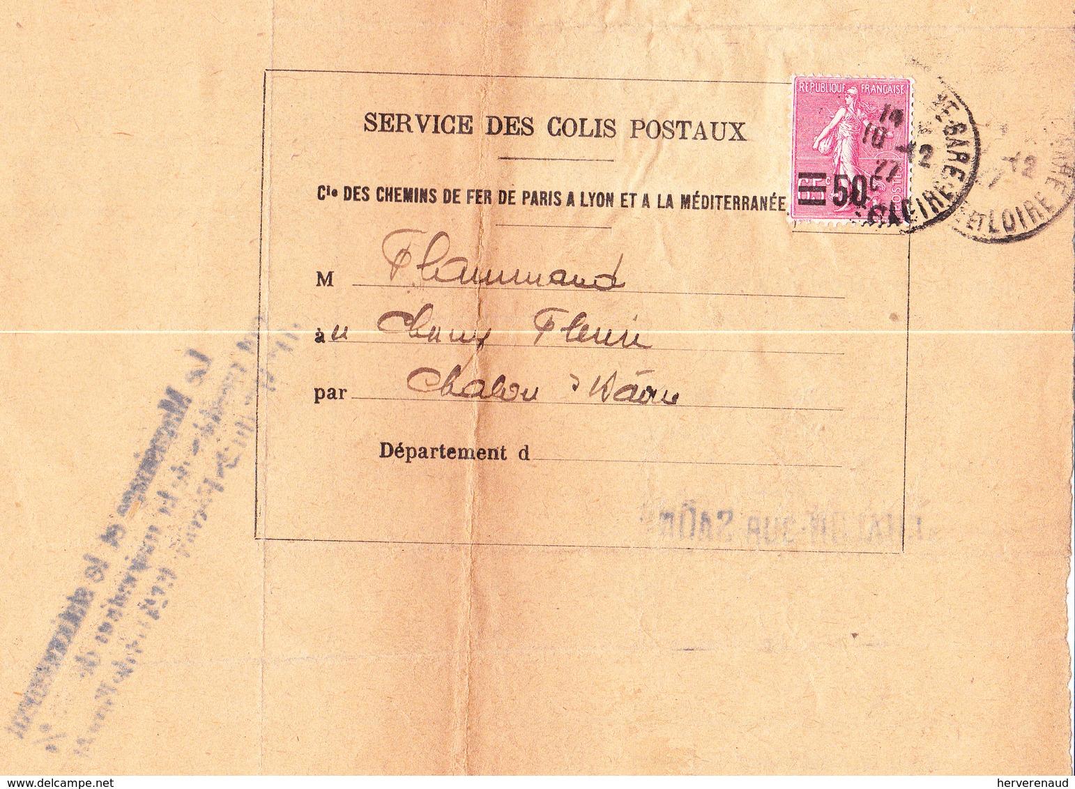 Semeuse 224 Sur Avis Ets Flammand à Chalon-sur-Saône (1927) Avec Récépissé Collé Au Verso - 1903-60 Sower - Ligned