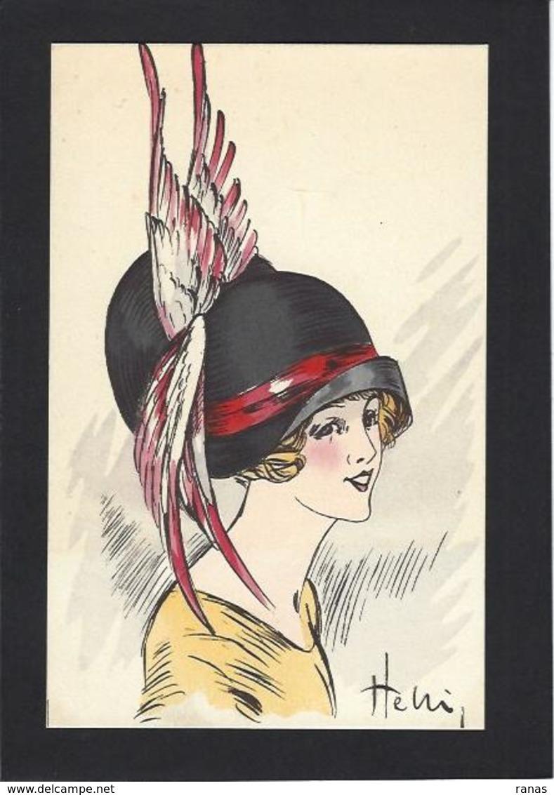 CPA Helli Chapeau Mode Femme Girl Women Non Circulé Glamour éditions Artistiques 144 Type Sager Roberty - Moda