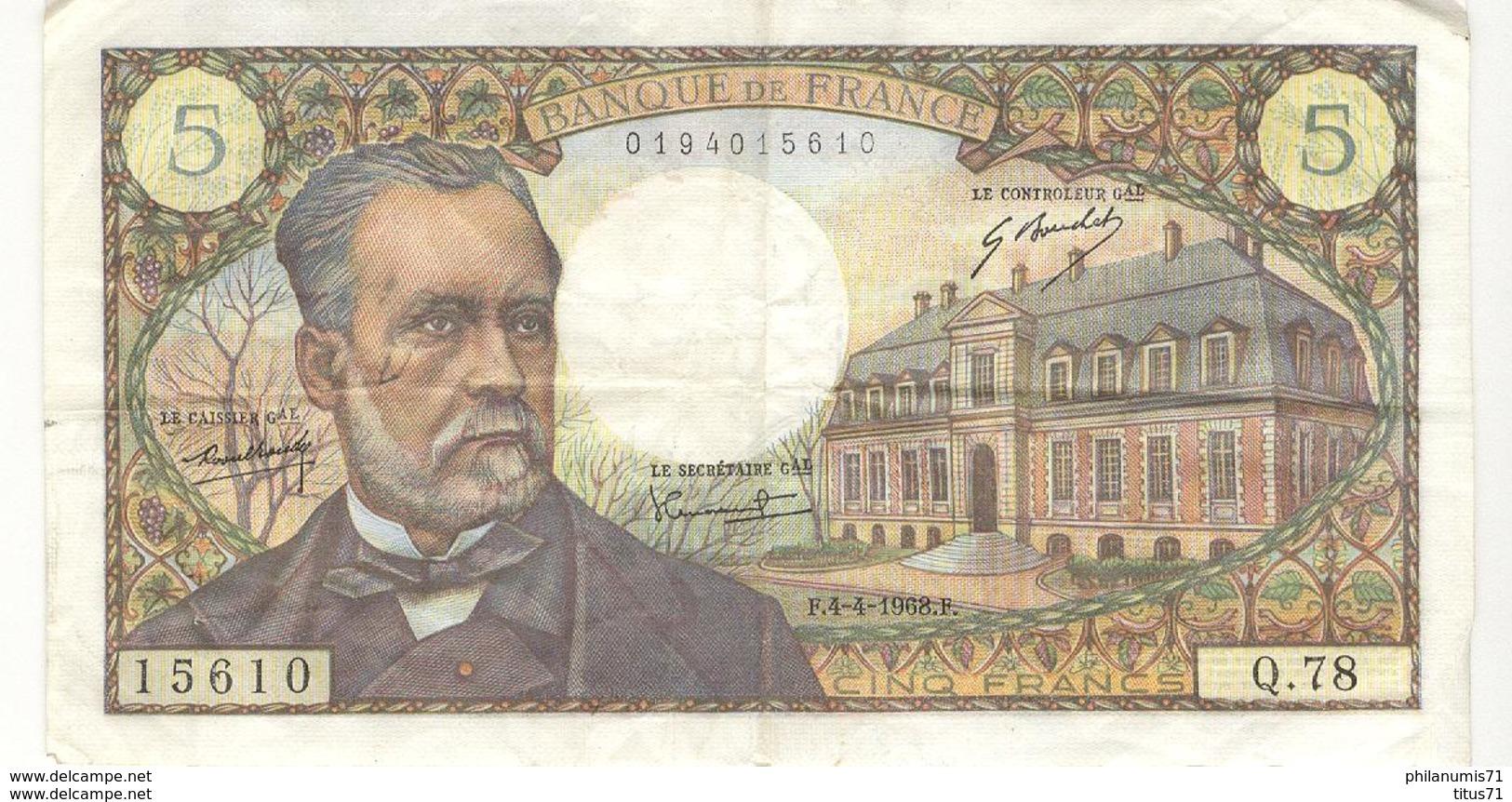 Billet 5 Francs France Pasteur 4.4.1968 - 5 F 1966-1970 ''Pasteur''