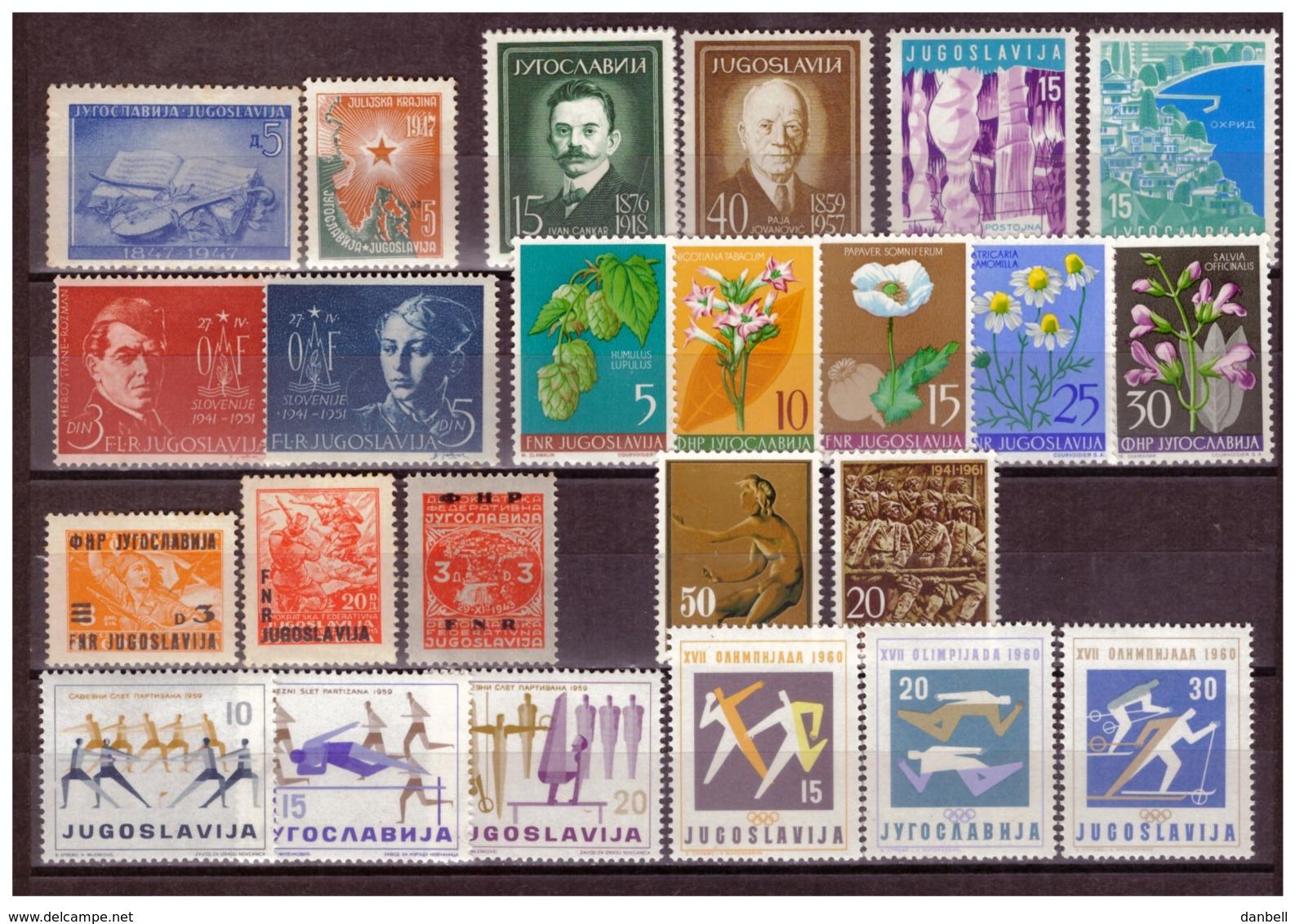 YUG12)1947-1961 Lotto 29 Valori MNH E MLH + 4 Val. Bosnian Girl 1918 - 1945-1992 Repubblica Socialista Federale Di Jugoslavia