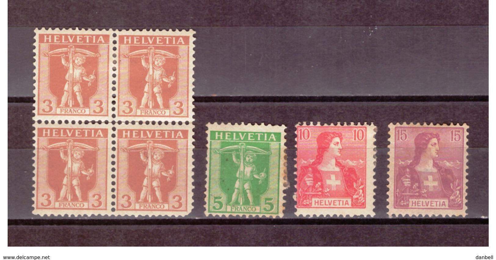 CH39) 1907 TELL -HELVETIA Serietta 4 Val Unif.113-118 MLH - Svizzera